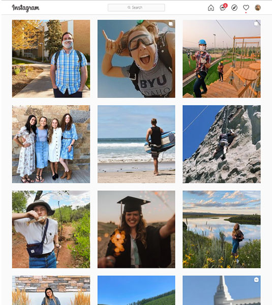 Screenshot of Admissions Instagram Photos